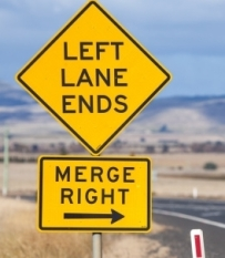 left lane ends merge right